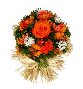 Bqt raffia orange preservado/seco - BQTRAFORA
