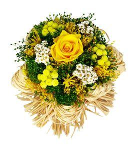 Bqt raffia yellow preservado/seco - BQTRAFYEL