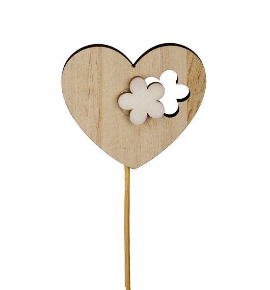 Pick heart flower wood 6cm - PICHEAWOOFLO