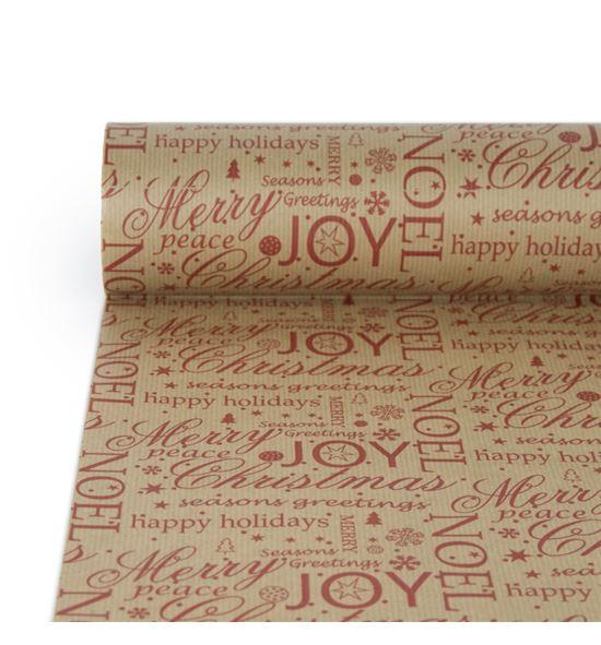 Bobina textos navideños papel verjutado rojo - BH-551